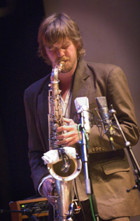 Mattias Carlson, saxophonist in Anders Nilsson's AORTA during KOPAfestival 2006 Photo: Mats Persson